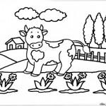Paisajes con vacas – Dibujos para imprimir y colorear