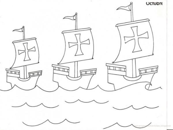 Dibujos de las 3 carabelas de Cristbal Coln para pintar