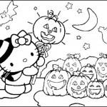 Dibujos infantiles de Happy Halloween con Kitty para colorear