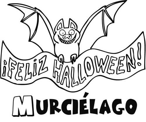 Pintando dibujos de murcilagos para festejar Halloween  Colorear