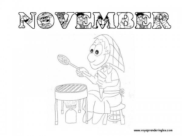 Dibujos del mes de Noviembre (November en inglés) para pintar