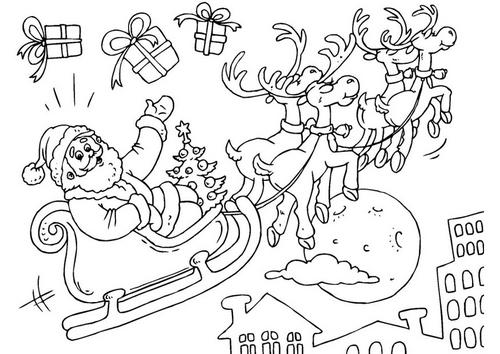 Papá Y Mamá Noel Dibujos Para Imprimir Y Colorear: Dibujos De Papá Noel Y Su Trineo Para Colorear