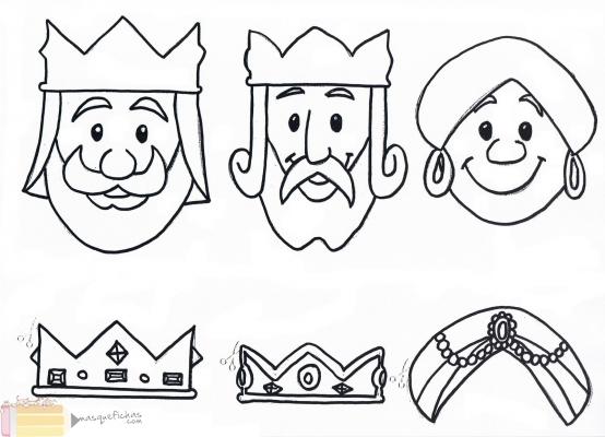 Dibujos de Melchor Gaspar y Baltasar para colorear Tres Reyes