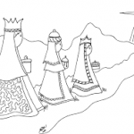 Los tres Reyes Magos y la Estrella de Belén  para pintar