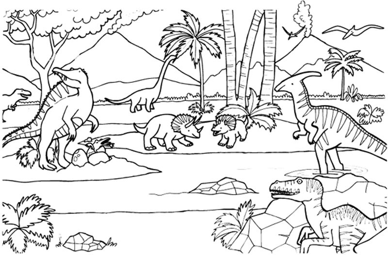 Dinosaurio Para Colorear Mandalas Para Con Dibujos De: 58 Dinosaurios Para Colorear Y Pintar: Descargar E
