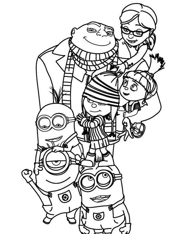 Gru and minions coloring pages