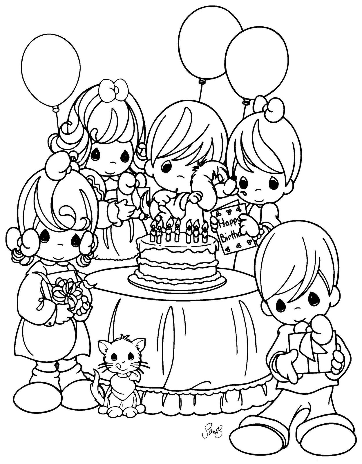 Happy Precious Moments Coloring Pages