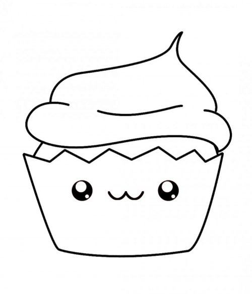 kawaii,con,lazo,colorear kawaii,cupcake,coloring,page