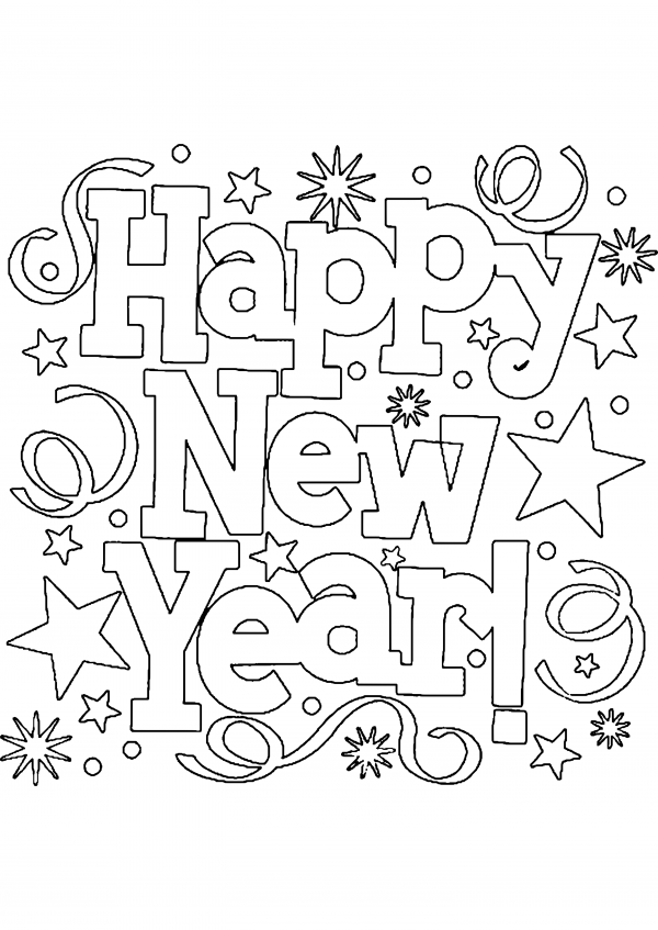 Imágenes con dibujos de Feliz Año Nuevo para colorear ...