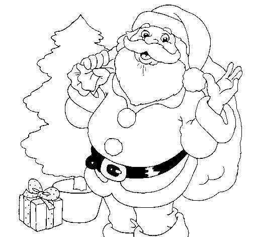 santa-claus-y-un-arbol-de-navidad-colorear