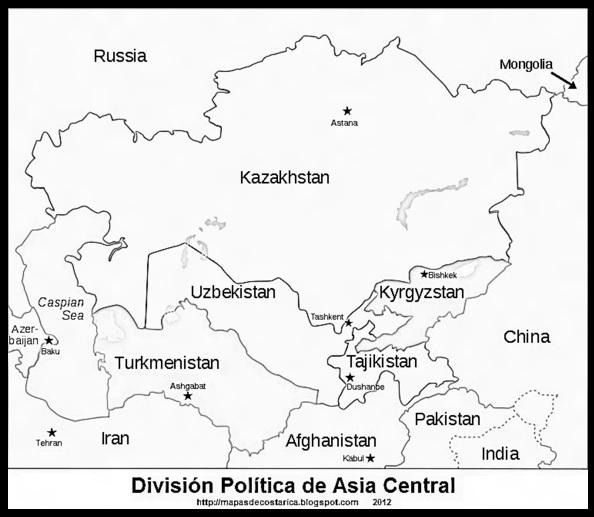 Dibujos de Mapas de Asia y Paises para colorear  Colorear imgenes