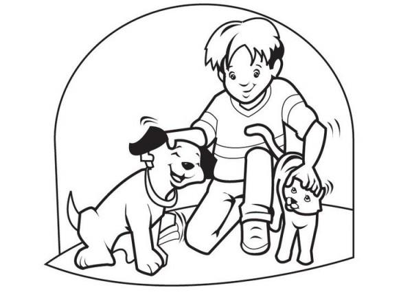 Dibujo De Niña Y Perro Jugando Pintado Por Loac En