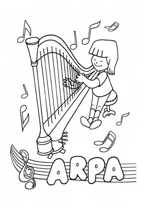 colorear_instrumentos_concertando_arpa_harp