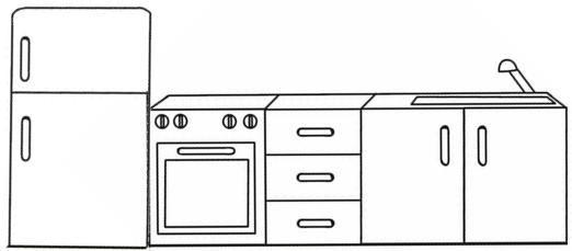 Muebles para colorear descargar e imprimir mobiliario colorear im genes - Dibujos de cocina ...