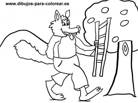 Dibujos-para-colorear-El-lobo-escalera-y-el-arbol