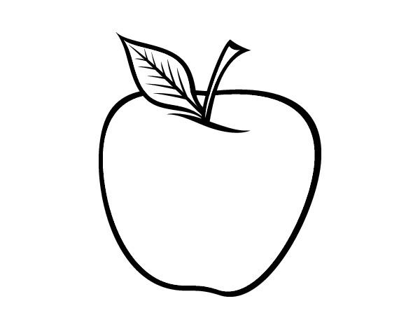 Manzana para pintar colorear im genes - Dessin pomme apple ...