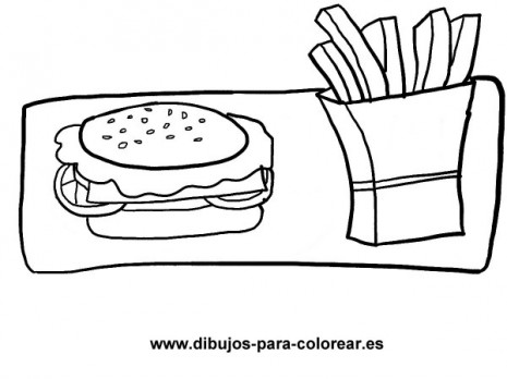 Dibujos-para-colorear-hamburguesa-y-patatas-fritas