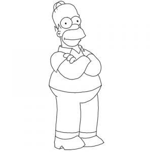 Homero Simpson para dibujar pintar colorear imprimir recortar y pegar 006