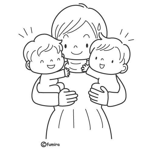 Madres con hijos para colorear