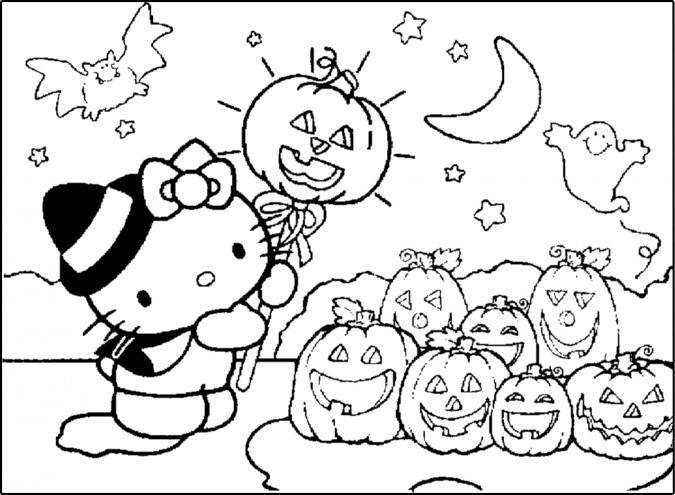 Dibujo de Kitty en Halloween para colorear Colorear im genes