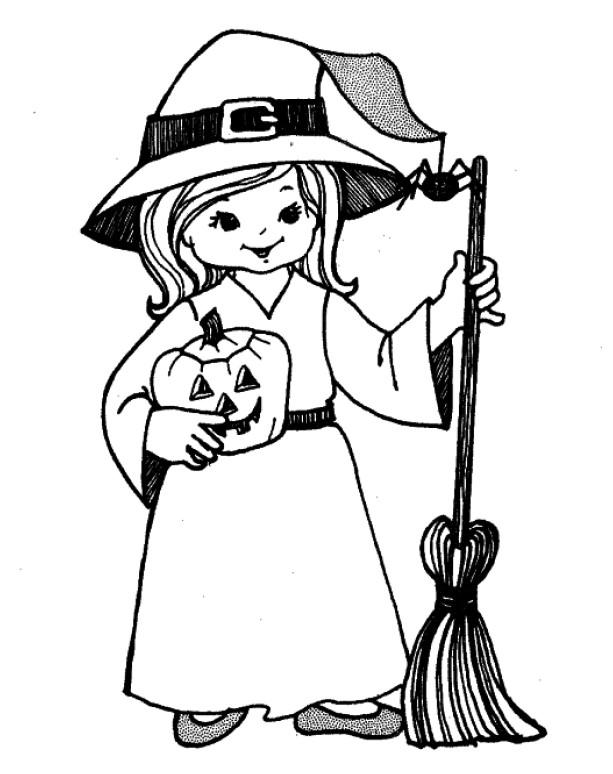 Brujas lindas para pintar en Halloween | Colorear imágenes