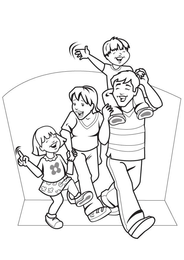 Dibujos de familias felices para pintar | Colorear imágenes