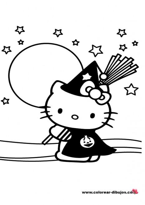 Dibujo De Kitty En Halloween Para Colorear Colorear Imágenes