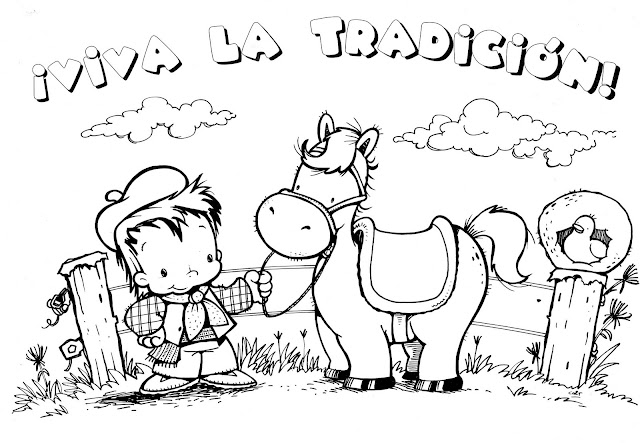 Dibujos Del Día De La Tradición Con Gauchos Y Martin Fierro