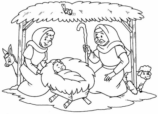 Dibujos de pesebres navideños para colorear: Belenes | Colorear imágenes