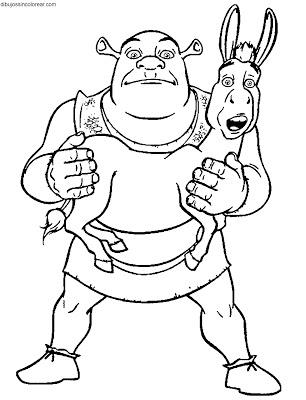 Shrek y el asnopara colorear 05