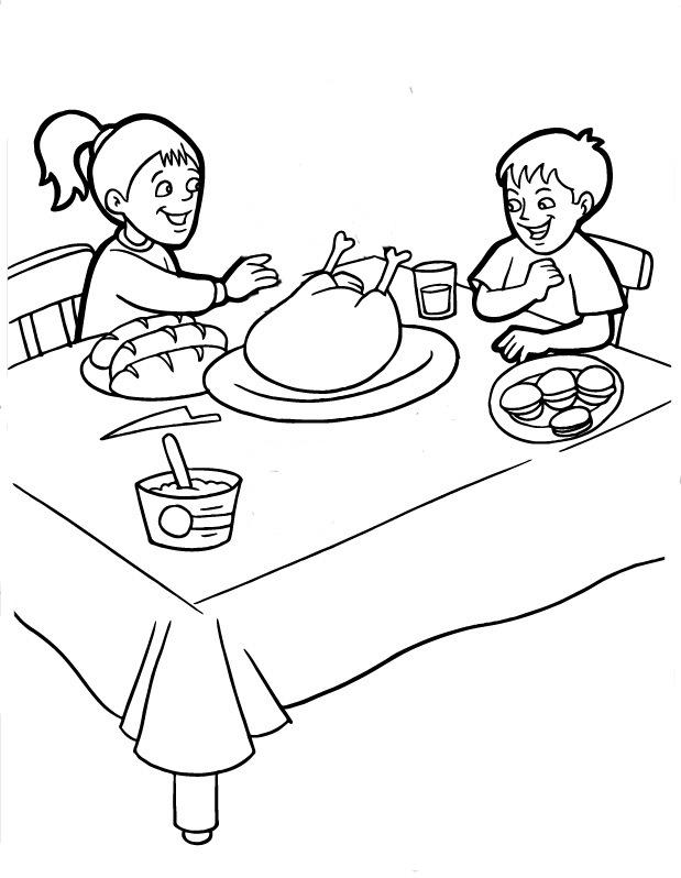 Día De Acción De Gracias En Familia Para Pintar Colorear