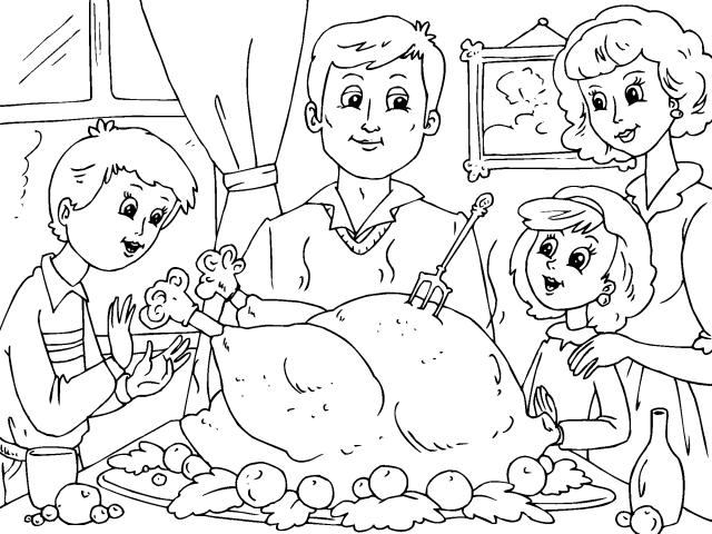 Día de Acción de Gracias en familia – Para pintar | Colorear imágenes