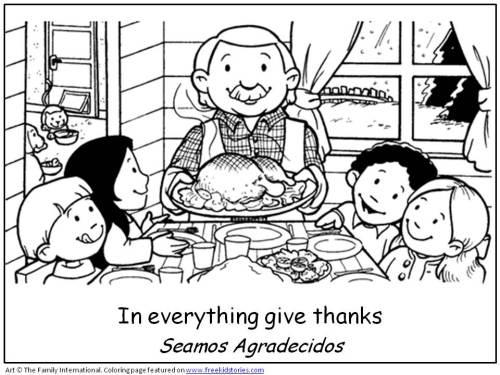 Día de Acción de Gracias en familia – Para pintar   Colorear imágenes