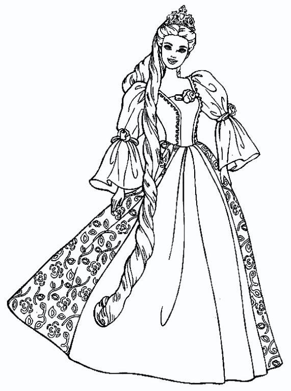 Dibujos para colorear de barbie vestida de novia
