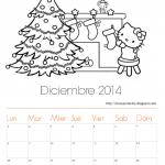 Calendarios Diciembre 2014 para colorear