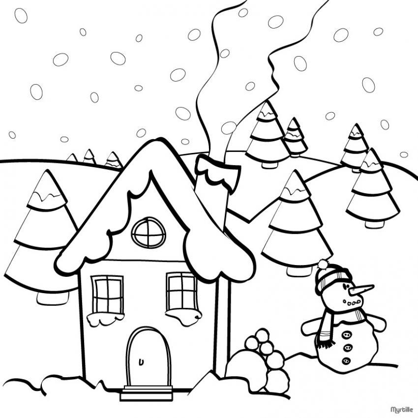 Paisajes de Invierno para colorear | Colorear imágenes