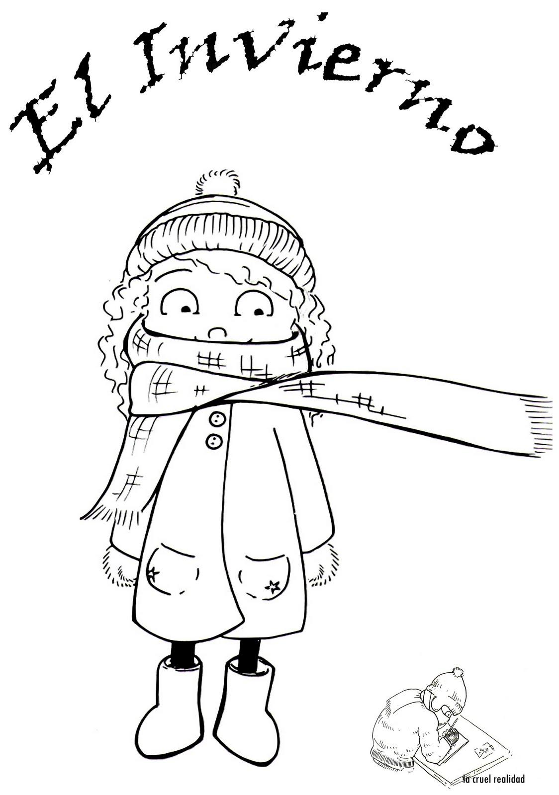 Dibujos De Bienvenido Invierno Para Colorear Muñecos De Nieve