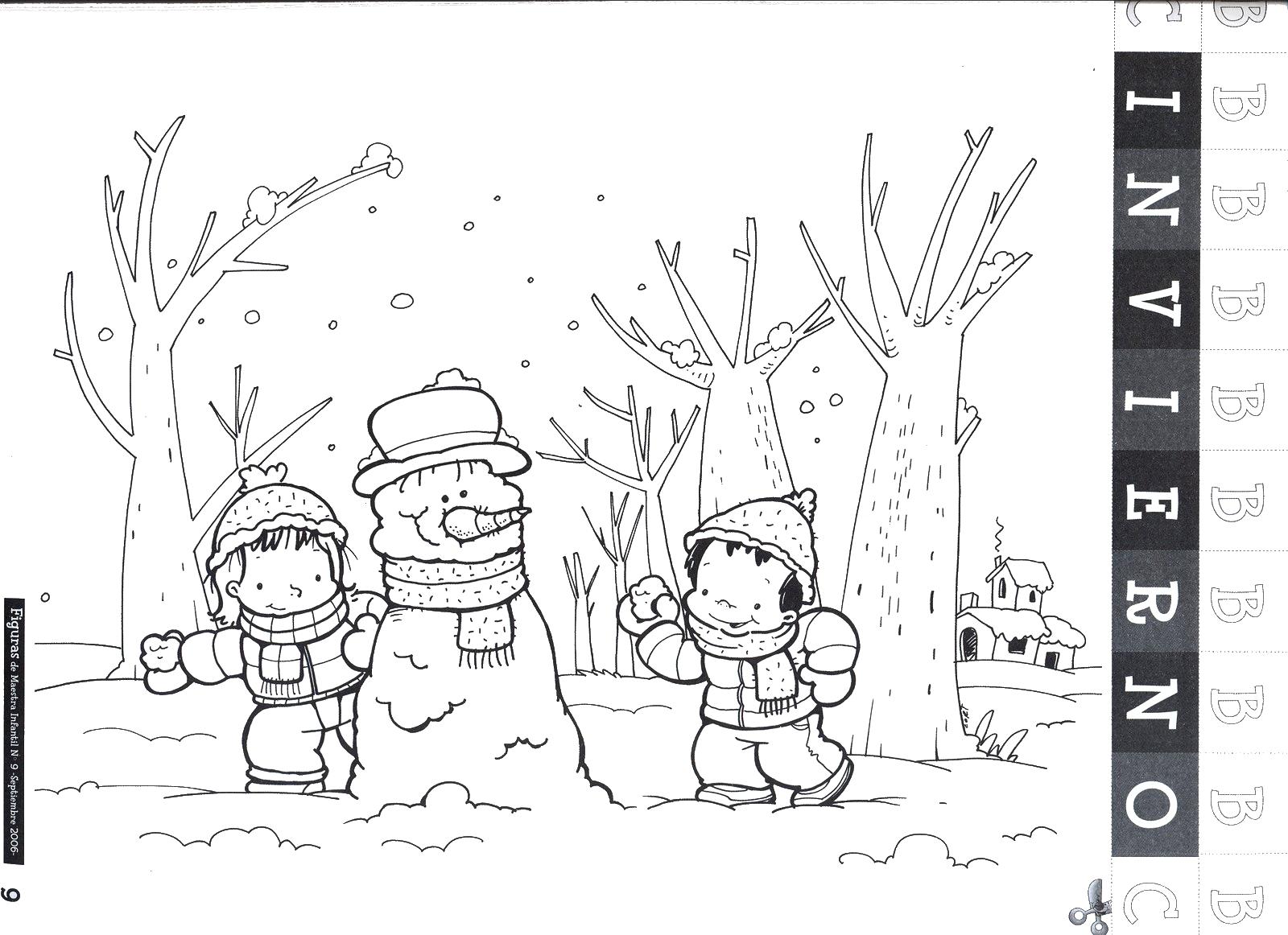 Dibujos de ¡Bienvenido Invierno! para colorear: Muñecos de nieve ...