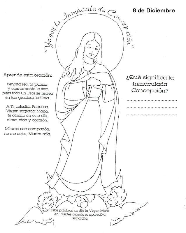 La Inmaculada Concepción de María para colorear | Colorear imágenes