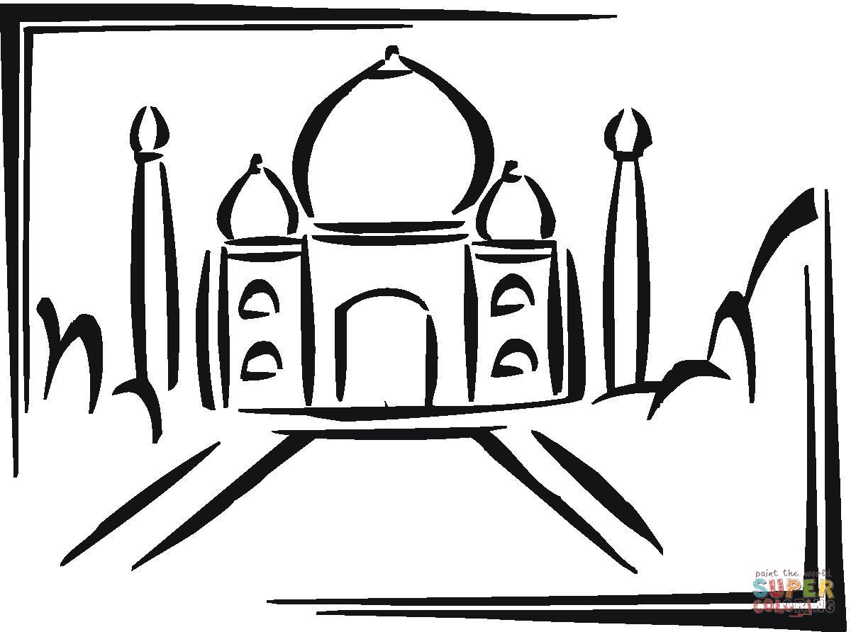 El Taj Mahal – Para pintar | Colorear imágenes