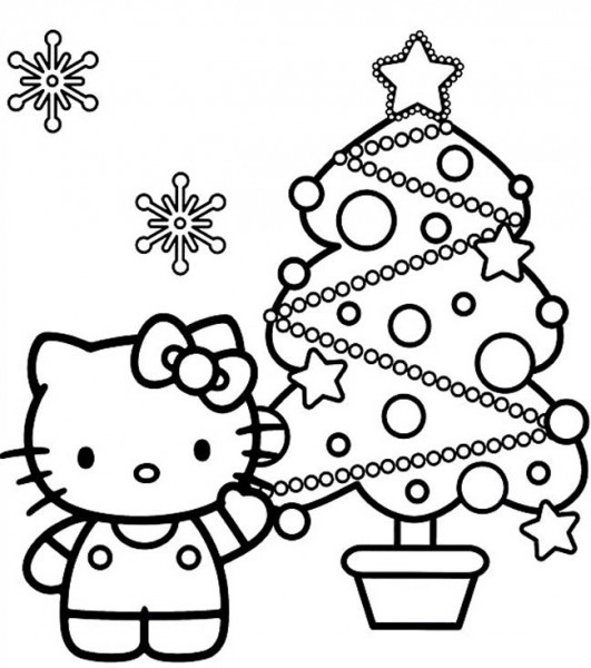 Dibujos para colorear de Hello Kitty en Navidad | Colorear imágenes