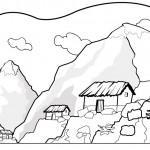Dibujos de paisajes de montaña para colorear