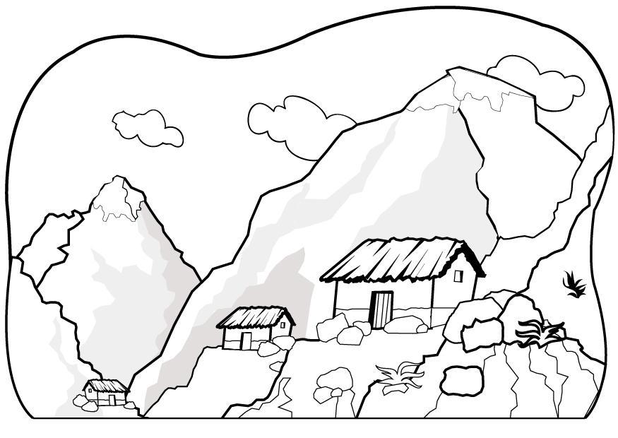 Dibujos de paisajes de montaña para colorear | Colorear imágenes