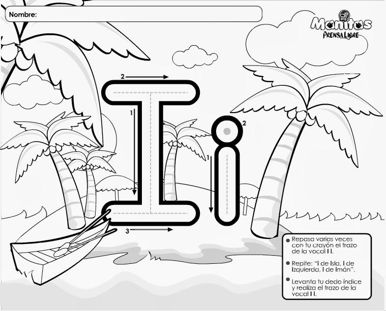 Fichas de las vocales para imprimir y colorear | Colorear imágenes