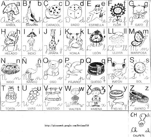 Alfabetos ilustrados para imprimir y colorear | Colorear imágenes