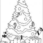 Dibujos de arbolitos de Navidad con regalos para colorear