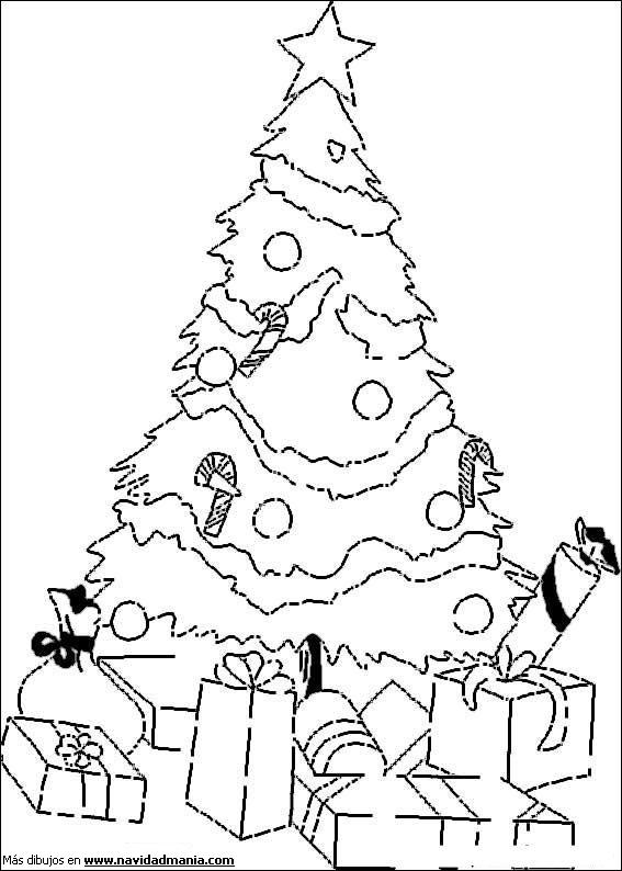 Dibujos de arbolitos de Navidad con regalos para colorear | Colorear ...