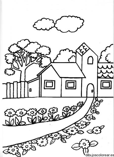 Dibujos de paisajes con casas bonitas para pintar | Colorear imágenes