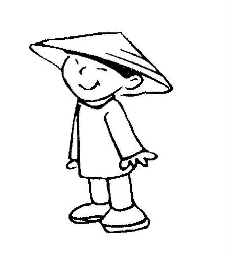 Dibujos de niños chinos para pintar | Colorear imágenes