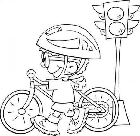 Dibujos de Educación Vial para imprimir y colorear ... Andar En Bicicleta Para Colorear